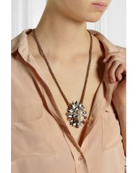 Shourouk - Pink Hindi Goldplated Swarovski Crystal and Pearl Necklace - Lyst