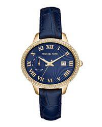 Michael Kors - Blue 41mm Whitley Leather-strap Glitz Watch - Lyst
