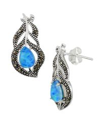 Lord & Taylor | Blue Sterling Silver And Faux Opal Feather Post Earrings | Lyst
