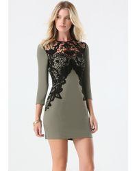 Bebe | Green Lace Applique Dress | Lyst