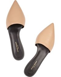 Narciso Rodriguez | Natural Athena Leather Point-Toe Flats | Lyst