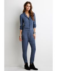 b0752303dedf Lyst - Forever 21 Utility Jumpsuit in Blue