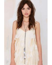 Nasty Gal - Metallic Disc Jockey Lariat Wrap Necklace - Lyst