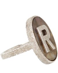 Carolina Bucci | Brown White Gold And Labradorite Sparkle R Initial Ring | Lyst