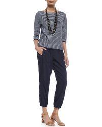 Eileen Fisher - White Linen-blend Cargo Ankle Pants - Lyst