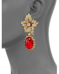 Kenneth Jay Lane | Red Shimmering Flower Clip Earrings | Lyst