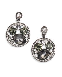 ABS By Allen Schwartz | Metallic Dark & Stormy Cluster Pave Hoop Drop Earrings | Lyst