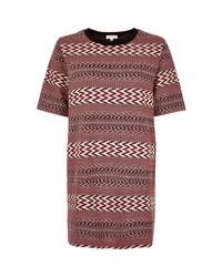 River Island - Red Geometric Jacquard Oversized T-shirt - Lyst