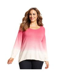 DKNY - Pink Plus Size Longsleeve Dipdyed Sweater - Lyst