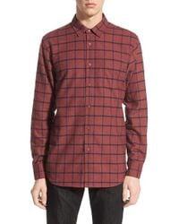 Obey Purple 'jasper' Slim Fit Check Woven Shirt for men