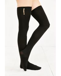 Urban Outfitters - Black Lightweight Button Thigh-high Thermal Sock - Lyst
