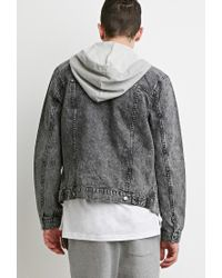 Forever 21 | Gray Hooded Denim Jacket for Men | Lyst