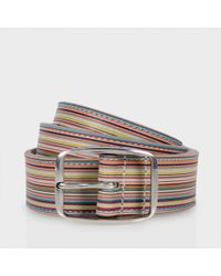 Paul Smith | Multicolor Men's Embossed Signature Stripe Leather Belt for Men | Lyst