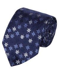 Barneys New York - Blue Stars Jacquard Silk Neck Tie for Men - Lyst