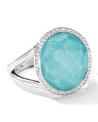 Ippolita - Blue Stella Lollipop Ring In Turquoise Doublet With Diamonds - Lyst