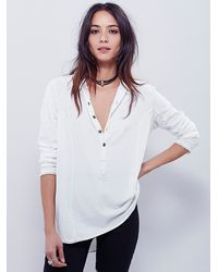 Free People | White We The Free Blue Moon Henley | Lyst