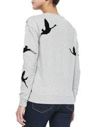 Maison Scotch - Gray Flamingo-Print Long-Sleeve Sweatshirt - Lyst