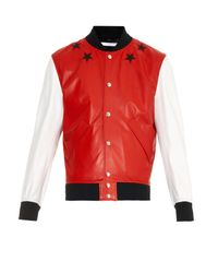 Givenchy - Red Varsity Leather Jacket for Men - Lyst