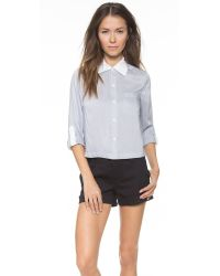 Alice + Olivia - Blue Cropped Button Down - Lyst