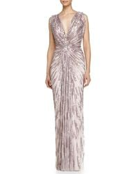 Jenny Packham - Multicolor Draped Starburst Sequined Gown - Lyst