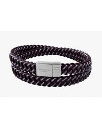 Tateossian - Intrecciato Bracelet In Brown Leather And Steel With Silver Clasp for Men - Lyst