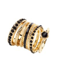 H&M - Black 7-Pack Rings - Lyst