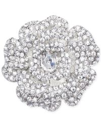 Jones New York | Metallic Silver-tone Crystal Open Flower Pin | Lyst
