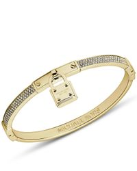 Michael Kors | Metallic Brilliance Gold Tone Hinge Bangle | Lyst