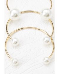 Forever 21 | Metallic Faux Pearl Cuff Set | Lyst