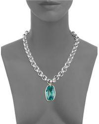Uno De 50 - Blue Rhinestone Pendant Necklace - Lyst