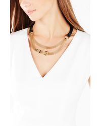 BCBGMAXAZRIA - Metallic Leatherette And Mesh Necklace - Lyst