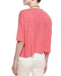 Eileen Fisher - Pink 3/4-sleeve Linen-blend Short Box Top - Lyst