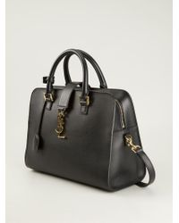 Saint Laurent | Black Medium 'cabas Monogram' Tote | Lyst