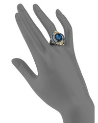 Konstantino - Thalassa London Blue Topaz, 18k Yellow Gold & Sterling Silver Ring - Lyst
