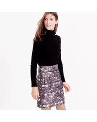 J.Crew | Purple Zip Mini Skirt In Feather Print | Lyst