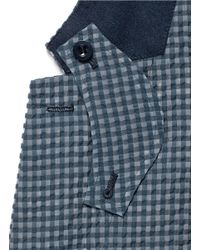 Sacai - Blue Gingham Check Seersucker Blazer for Men - Lyst