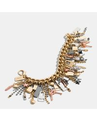 COACH - Multicolor Mixed Metal Icons Curbchain Bracelet - Lyst