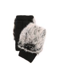 Adrienne Landau | Black Knit Fingerless Fur Gloves | Lyst