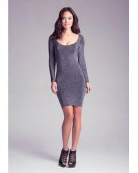 Bebe - Black Christy Slash Sleeve Dress - Lyst