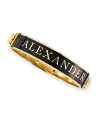 Alexander McQueen | Black Small Logo Enamel Cuff | Lyst