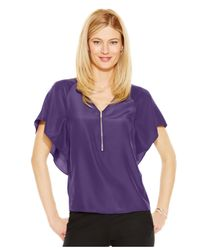 Michael Kors | Purple Michael Butterfly-sleeve Blouse | Lyst