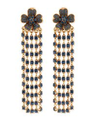 Oscar de la Renta | Blue Flower Drop Earrings With Crystal Fringe | Lyst