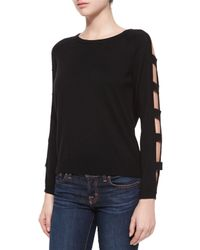 MILLY - Black Open Bar Long-sleeve Pullover - Lyst