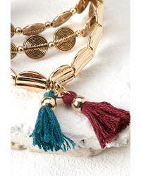 Forever 21 - Metallic Tassel Coin Bracelet Set - Lyst