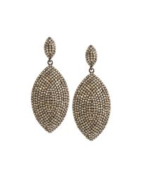 Bavna | Gray Diamond Pave Double-marquise Drop Earrings | Lyst