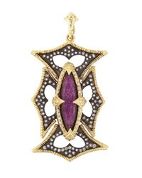 Armenta | Metallic Sugilite & White Quartz Doublet Cross Enhancer | Lyst