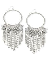 Guess - Metallic Silver-tone Chain And Imitation Pearl Gypsy Hoop Earrings - Lyst