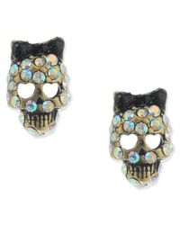 Betsey Johnson | Multicolor Small Skull Crystal Stud Earrings | Lyst