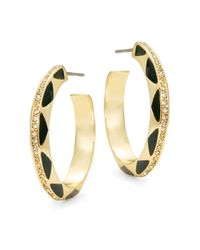 House of Harlow 1960 | Black Etched Hoop Earrings | Lyst