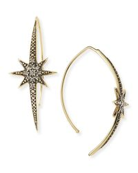 Mizuki | Metallic Small Icicle Star Earrings With Diamonds | Lyst